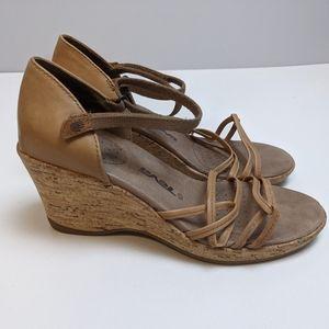 Teva Wedge Strappy Sandals Beige Women's 6